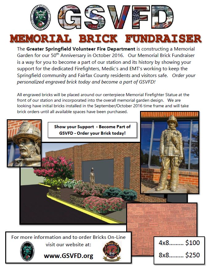 GSVFD Memorial Brick Fundraiser